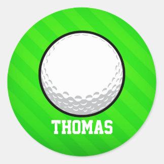 Golf Ball; Neon Green Stripes Classic Round Sticker