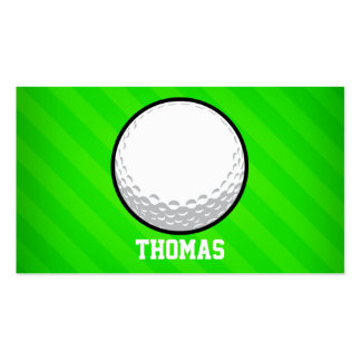 Golf Ball; Neon Green Stripes Pack Of Standard Business Cards