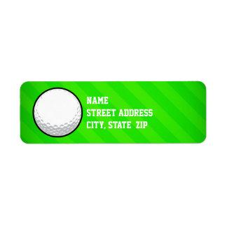 Golf Ball; Neon Green Stripes Return Address Label