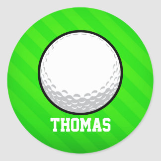 Golf Ball; Neon Green Stripes Round Sticker