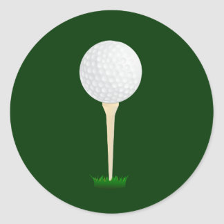 Golf Ball on a Tee Round Sticker