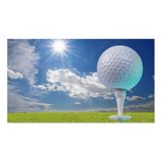 golf ball on a tee with grass pack of standard business cards