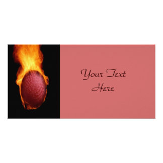 Golf Ball On Fire Photo Card