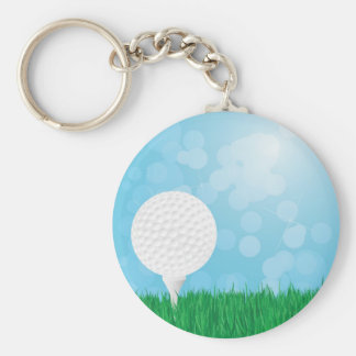 golf ball on grass key ring