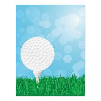 golf ball on grass postcard