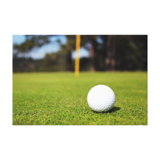 Golf ball on green stretched canvas print