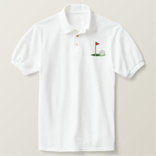 Golf Ball On Green Embroidered Polo Shirt