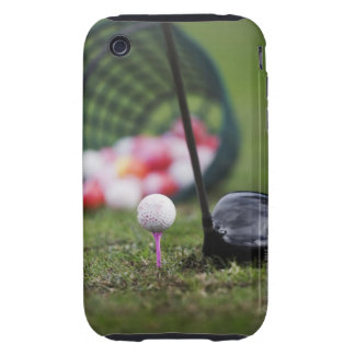 Golf ball on tee beside golf club tough iPhone 3 cases