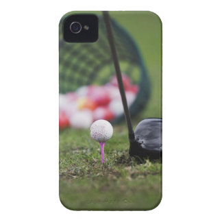 Golf ball on tee beside golf club iPhone 4 Case-Mate case