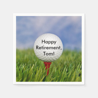 Golf Ball on tee for retirement Disposable Napkin
