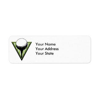 golf ball on tee graphic return address label