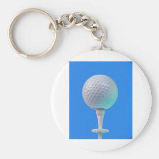 golf ball on white tee basic round button key ring