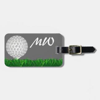 Golf ball personalised golfer luggage tag