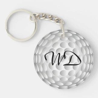 Golf ball personalized monogram Double-Sided round acrylic key ring