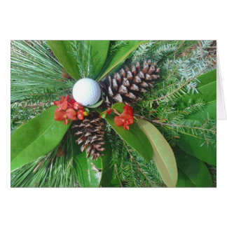 Golf ball pine cones and evergreens Christmas Card