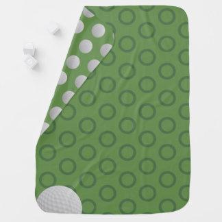 Golf Ball Polka Dots Moss Green Baby Blanket