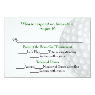 Golf Ball Pre Wedding Festivities RSVP Card 9 Cm X 13 Cm Invitation Card