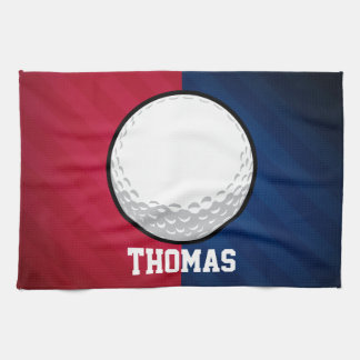 Golf Ball; Red, White, and Blue Tea Towel