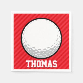 Golf Ball; Scarlet Red Stripes Disposable Serviette