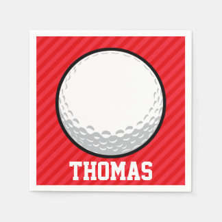 Golf Ball; Scarlet Red Stripes Paper Napkin