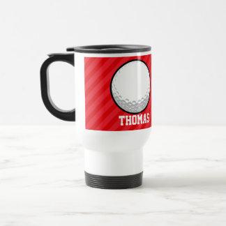 Golf Ball; Scarlet Red Stripes Travel Mug