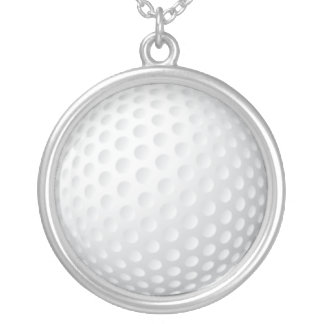 Golf Ball Silver Plated Necklace