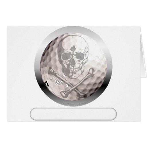 Golf Ball Skull and Crossbones Card