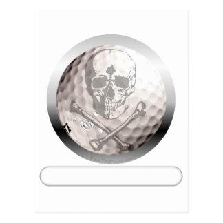 Golf Ball Skull and Crossbones Postcard