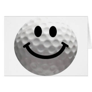 Golf ball smiley greeting card