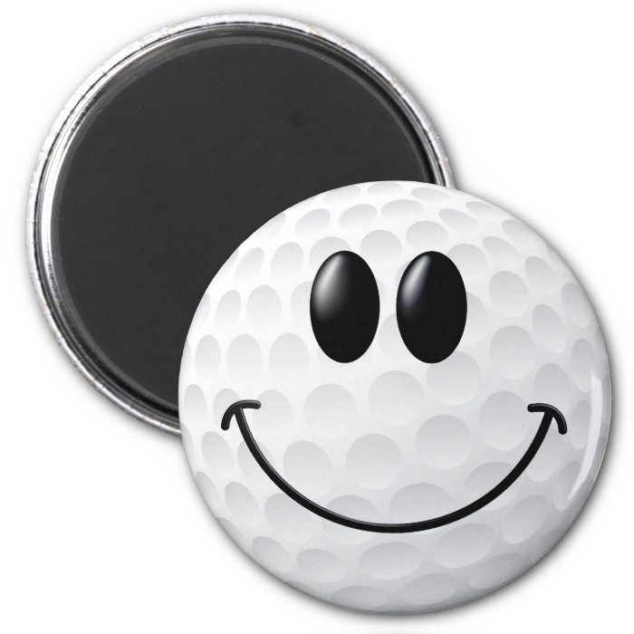 Golf Ball Smiley Face 6 Cm Round Magnet