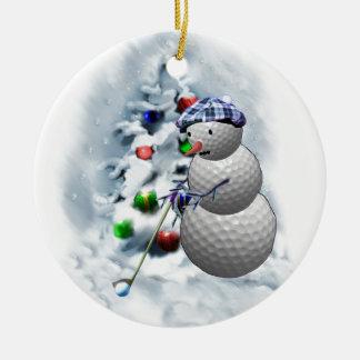 Golf Ball Snowman Christmas Christmas Ornament