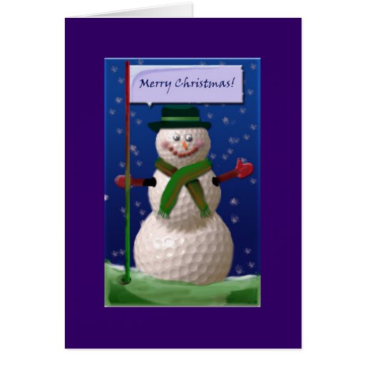 Golf Ball Snowman for the Golf Nut Greeting Cards