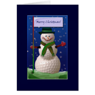 Golf Ball Snowman for the Golf Nut Greeting Card