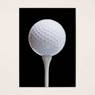 Golf Ball & Tee on Black - Customized Template Business Card