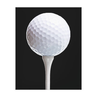 Golf Ball & Tee on Black - Customized Template Canvas Print