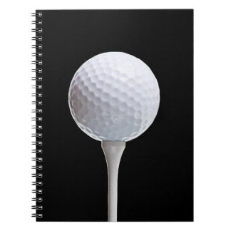 Golf Ball & Tee on Black - Customized Template Notebooks