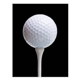 Golf Ball & Tee on Black - Customized Template Postcard