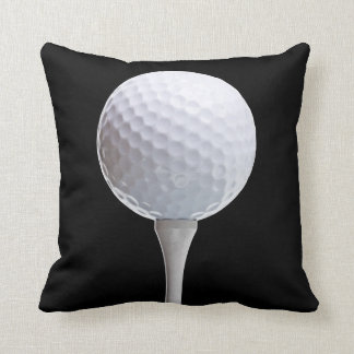 Golf Ball & Tee on Black - Customized Template Throw Pillow