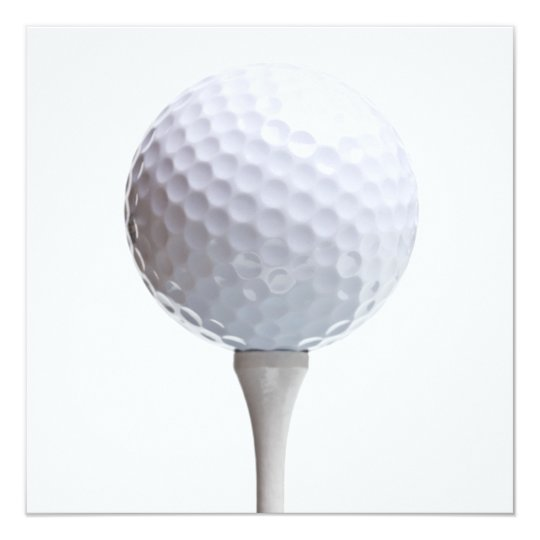 Golf Ball & Tee on White Customised Template Card