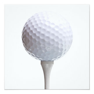 Golf Ball & Tee on White Customized Template Card