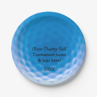 Golf Ball Texture Dimples Arctic Blue_personalized Paper Plate