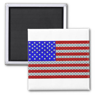 Golf Balls American Flag Square Magnet