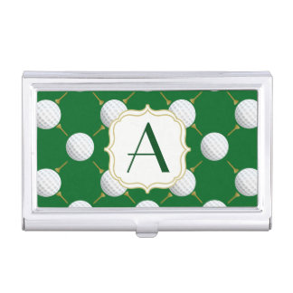 Golf balls and Tees on Green Business Card Holder