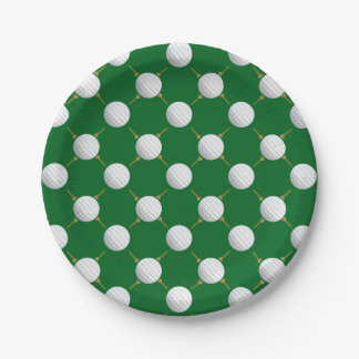 Golf balls and Tees on Green Paper Plate