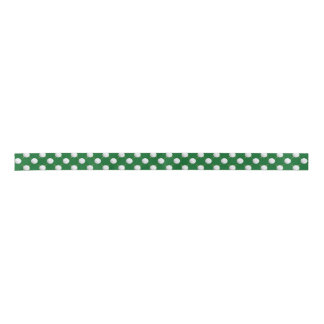 Golf balls and Tees on Green Satin Ribbon
