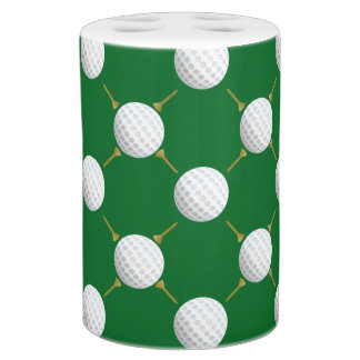 Golf balls and Tees on Green Toothbrush Holders