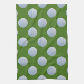 Golf Balls Polka Pattern Grass Green Kitchen Towel