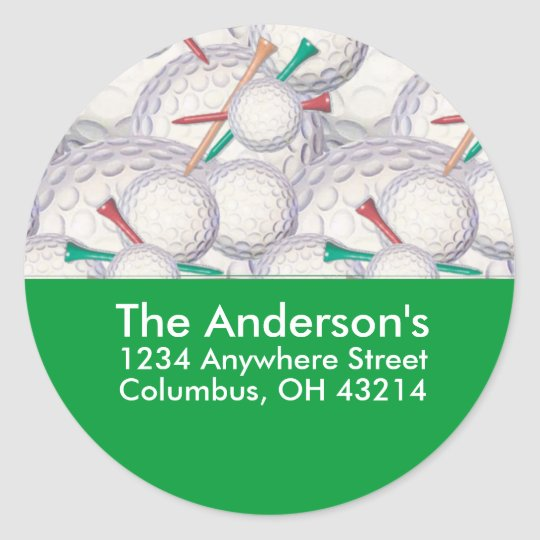 Golf Balls & Tees Address Label/Sticker Classic Round