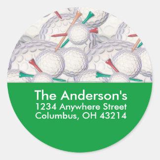 Golf Balls & Tees Address Label/Sticker Round Sticker