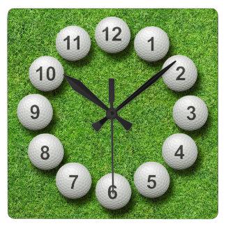 Golf Balls Timepiece Square Wall Clock